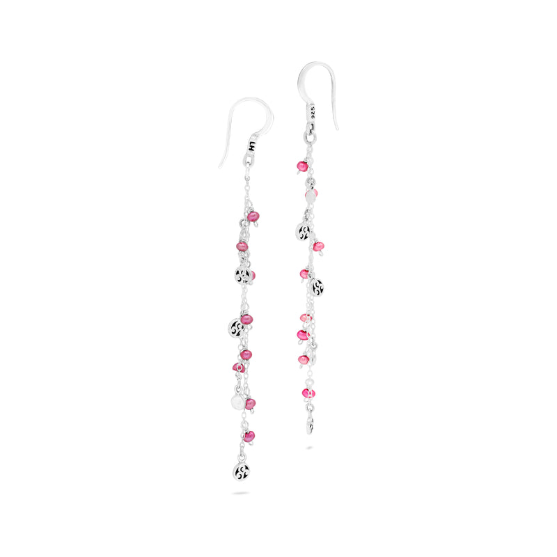 Pink Pearl Bead with Scroll Disc Station Drop Fishook Earrings