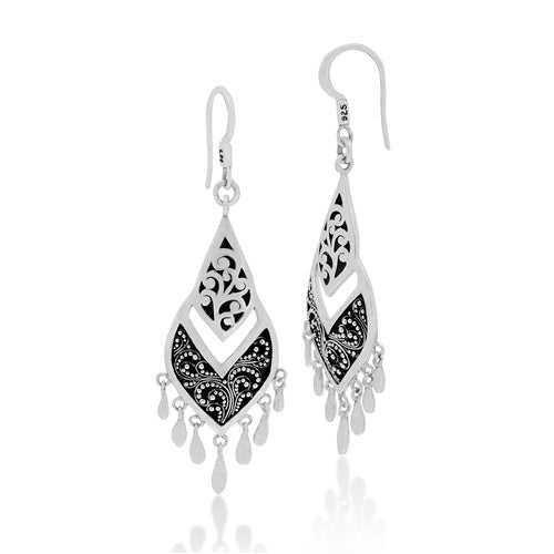 Classic Signature Scroll and Granulation Dangle Earrings