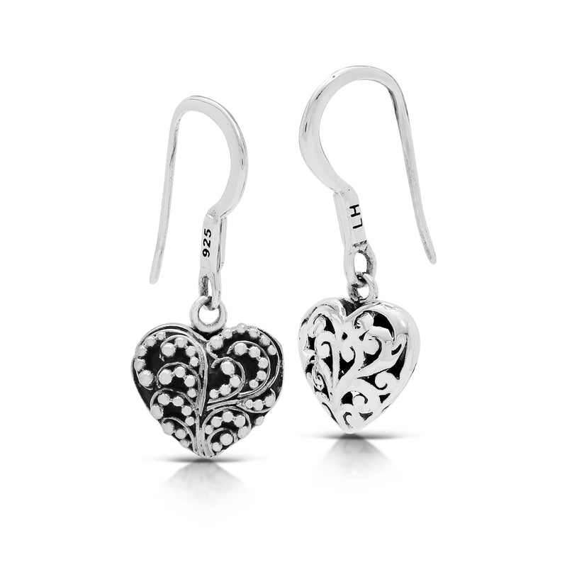 Classic Carved Scroll & Granulated Heart-Shaped Doubleside Fish Hook Earrings. 12mm x 11mm Charm