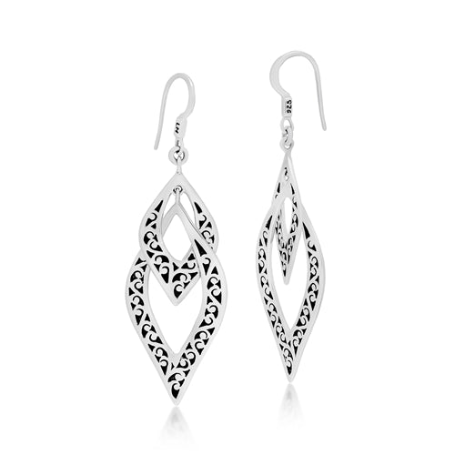 Classic Signature Scroll Double Twist Dangle Earrings