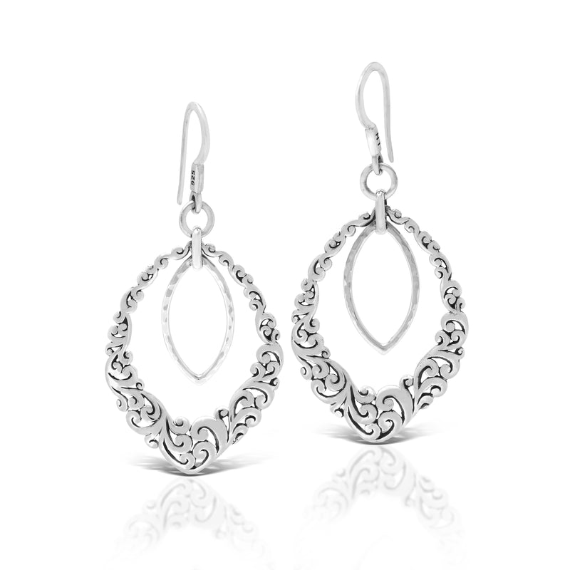Classic Signature Open Scroll Fishook Earrings. 26mm x 42mm