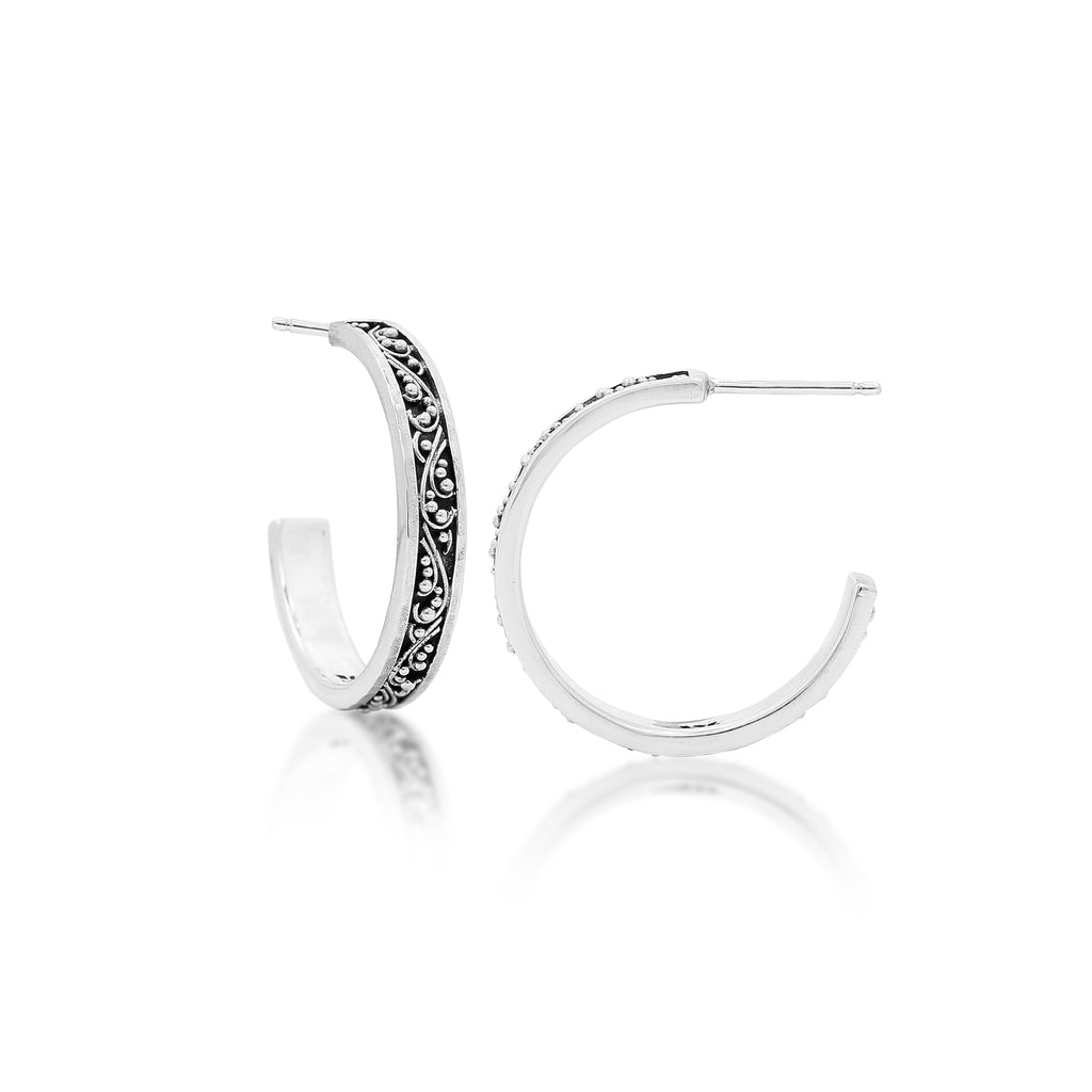 Classic Signature Scroll Medium Hoop Earrings