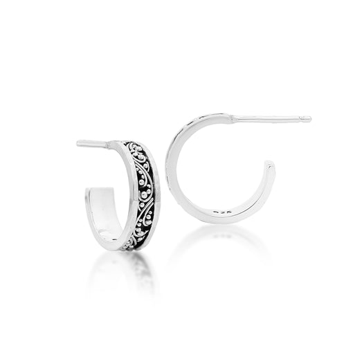 Tiny Granulated Hoop Earrings. 4 mm W X diameter 15mm - Lois Hill Jewelry