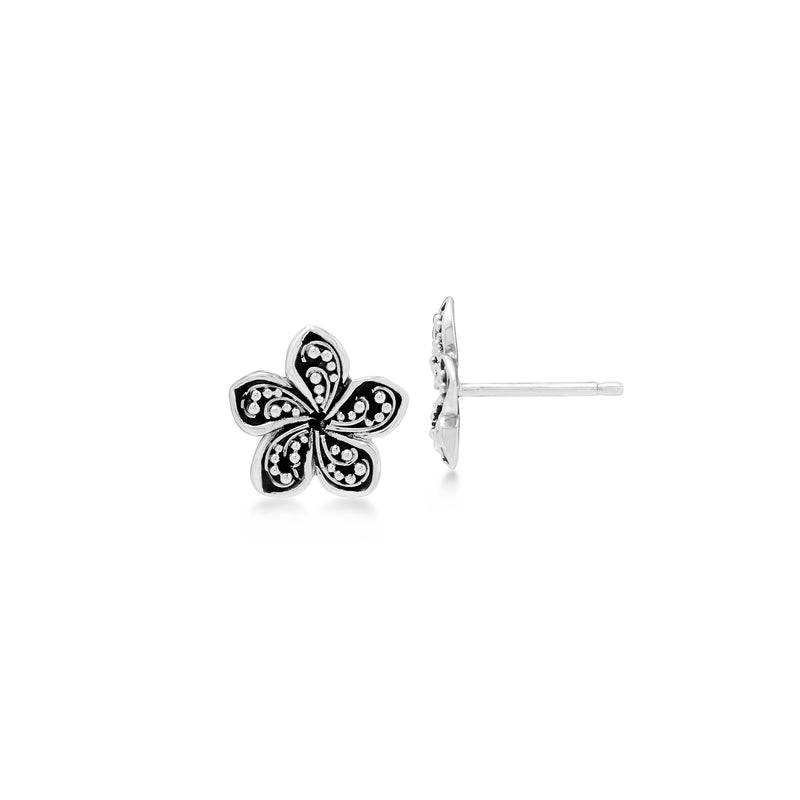 LH Granulation Scroll Sterling Silver Delicate Floral Stud Earrings - Lois Hill Jewelry