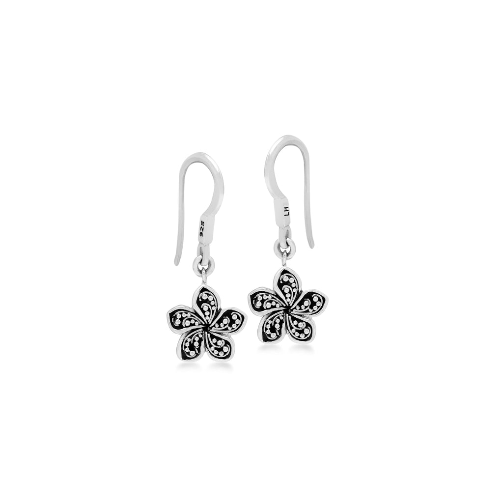 LH Granulation Sterling Silver Delicate Floral Fishook Earrings - Lois Hill Jewelry
