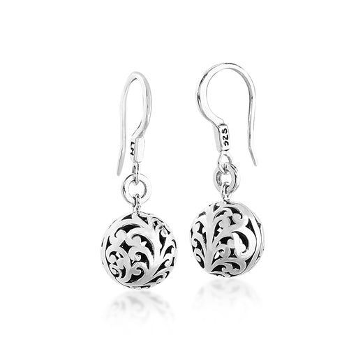 Small Carved Scroll Ball Fish Hook Earrings