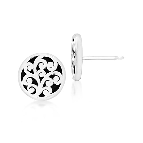 Small Classic Carved Scroll Round Flat Studs - Lois Hill Jewelry