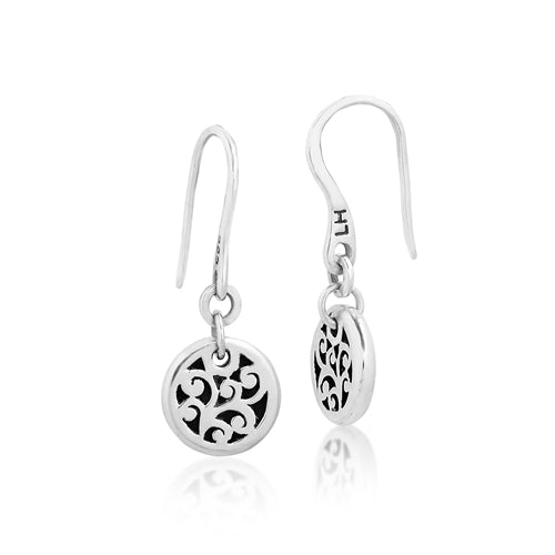 Small Classic Carved Scroll Disc Drop Earrings - Lois Hill Jewelry