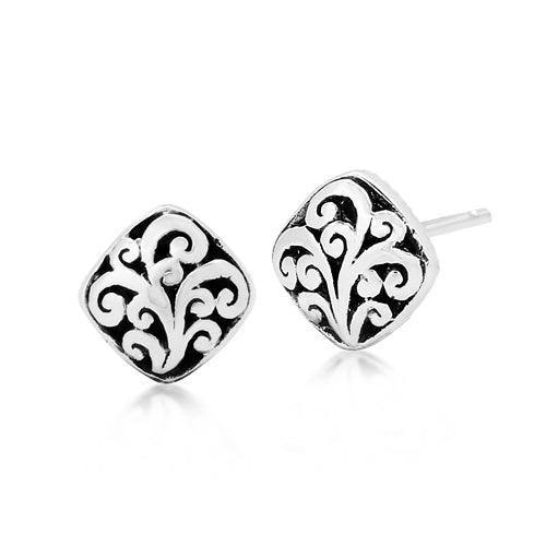 Small Carved Scroll Stud Earrings