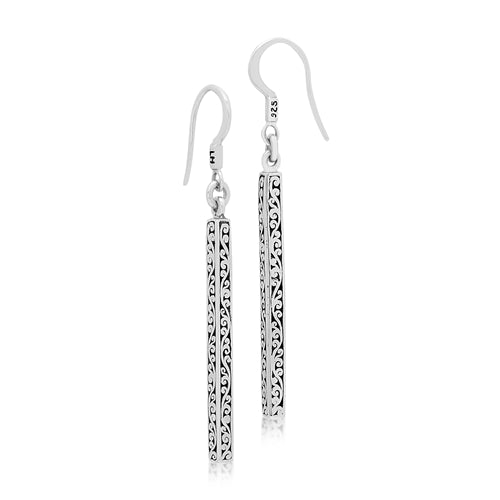 Long & Classic Signature Scroll Stick Drop Earrings