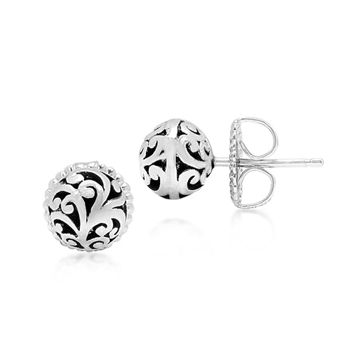 Lois Hill Signature Scroll Ball Stud Earrings