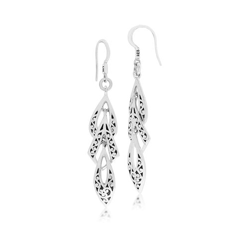 Classic Signature Scroll Long Drop Earrings - Lois Hill Jewelry