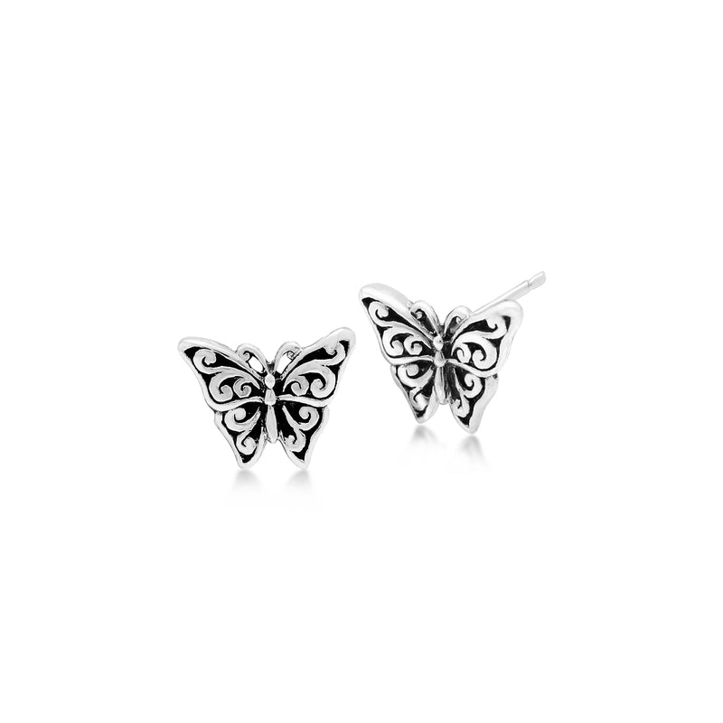 LH Signature Scroll Sterling Silver Delicate Butterfly Stud Earrings - Lois Hill Jewelry
