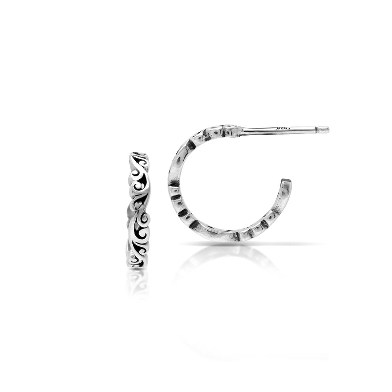 Carved Scroll Classic Hoop Earrings