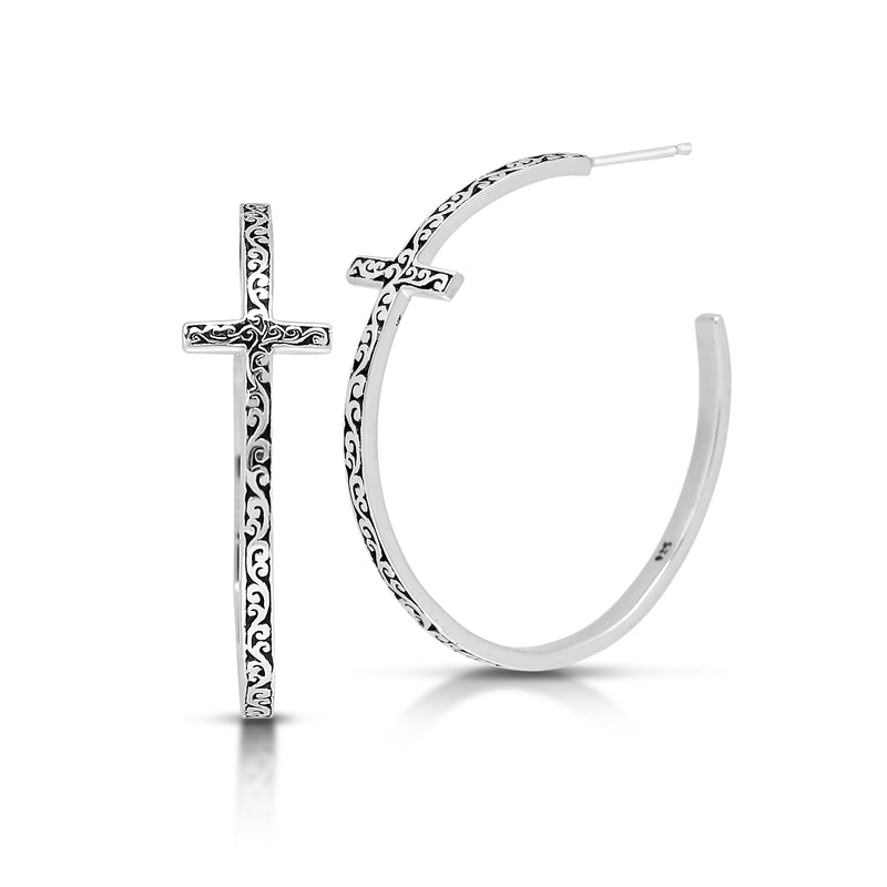 Large Cutout Scroll Cross Hoop Earrings - Lois Hill Jewelry