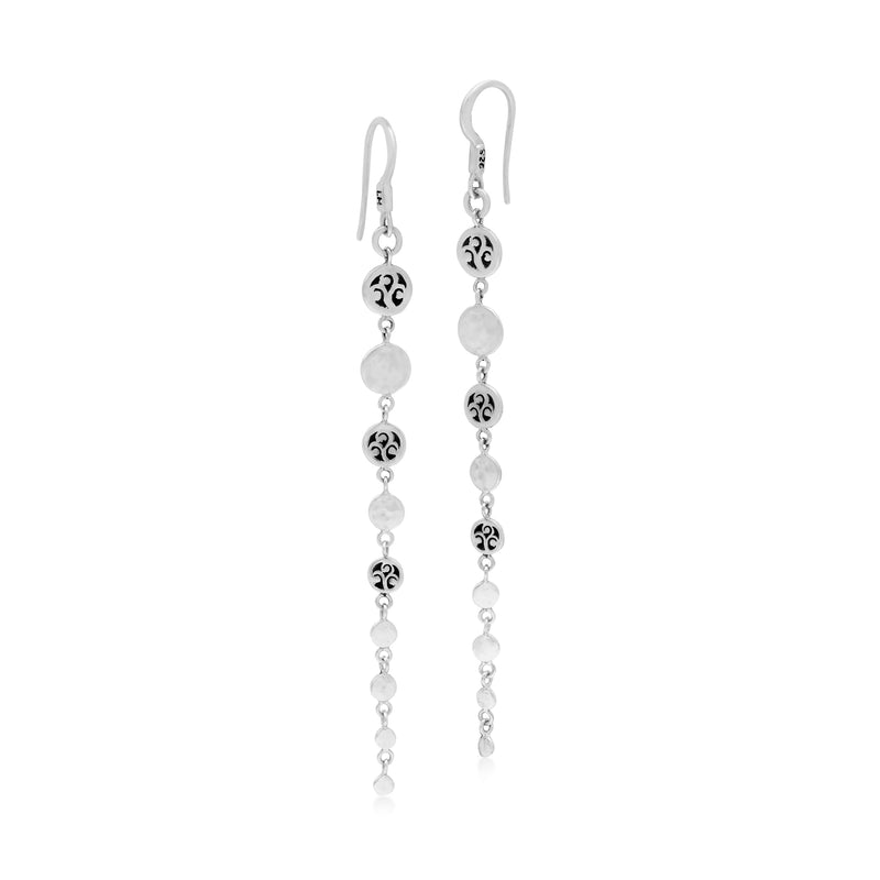 Signature Scroll and Hammered Disc Drop Station Earrings - Lois Hill Jewelry