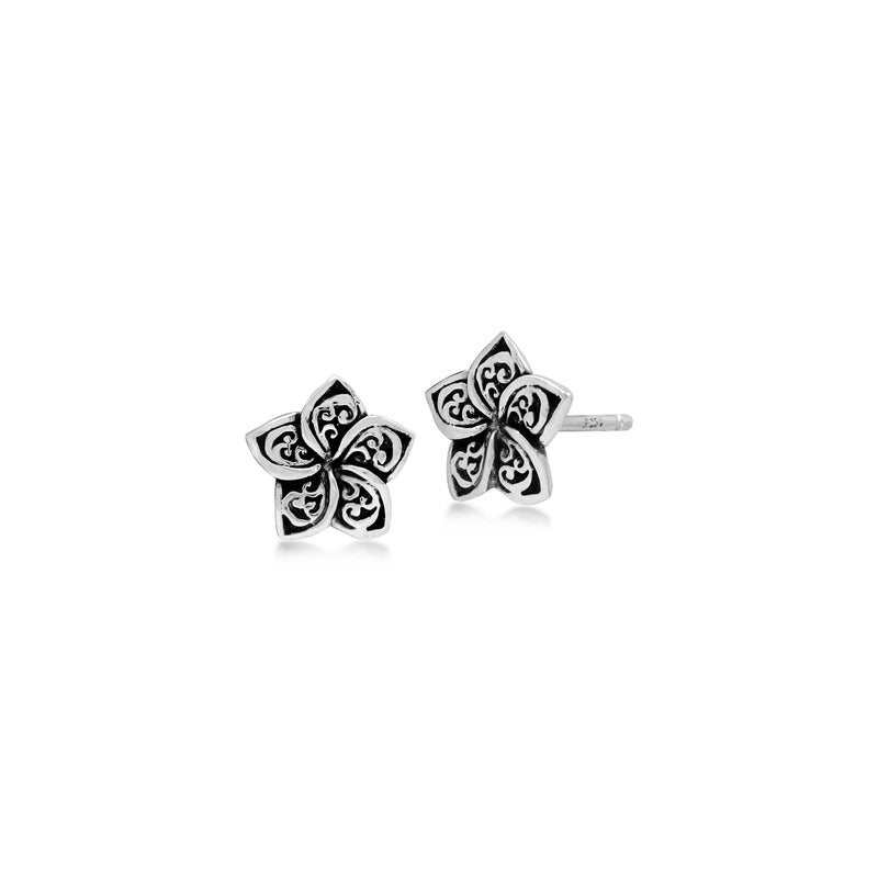 LH Signature Scroll Sterling Silver Delicate Floral Stud Earrings - Lois Hill Jewelry