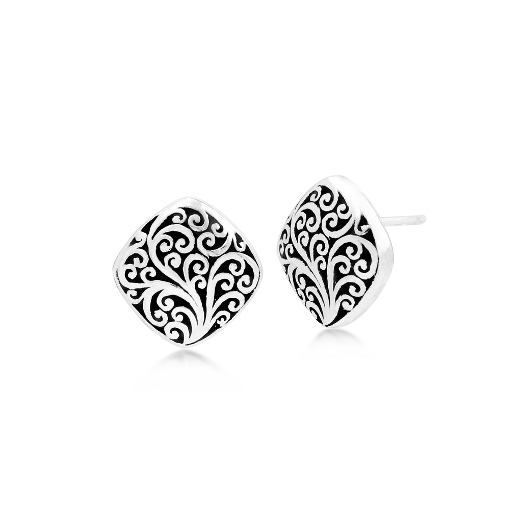 LH Signature Scroll Sterling Silver Delicate Cushion Square Stud Earrings - Lois Hill Jewelry