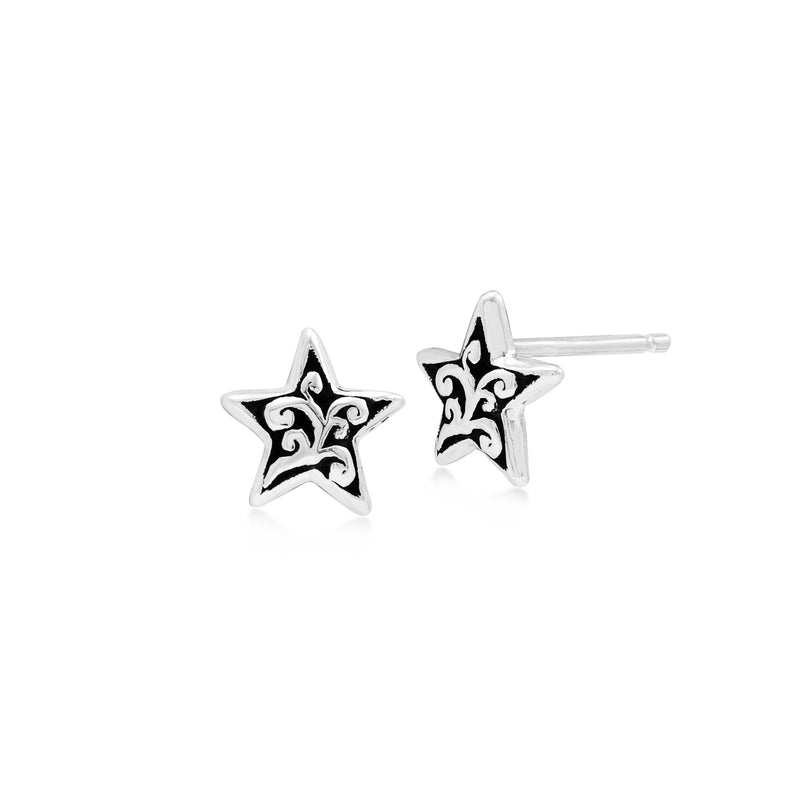 LH Signature Scroll Sterling Silver Delicate Delicate Star Stud Earrings - Lois Hill Jewelry