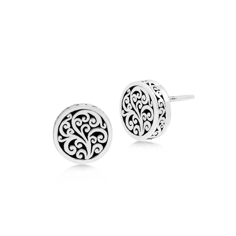 LH Signature Scroll Sterling Silver Delicate Round Stud Earrings - Lois Hill Jewelry
