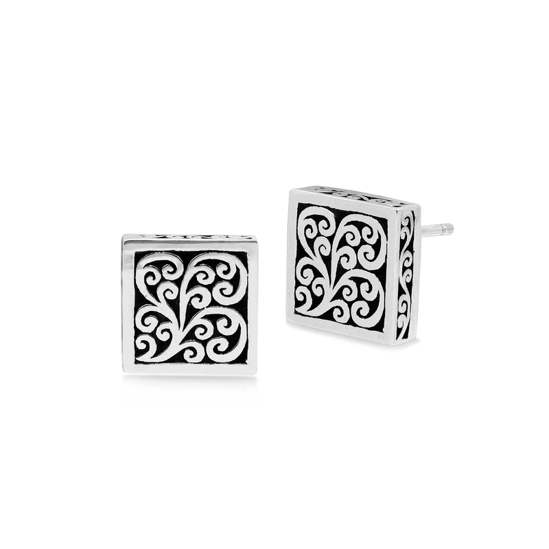 LH Signature Scroll Sterling Silver Delicate Square Block Stud Earrings - Lois Hill Jewelry