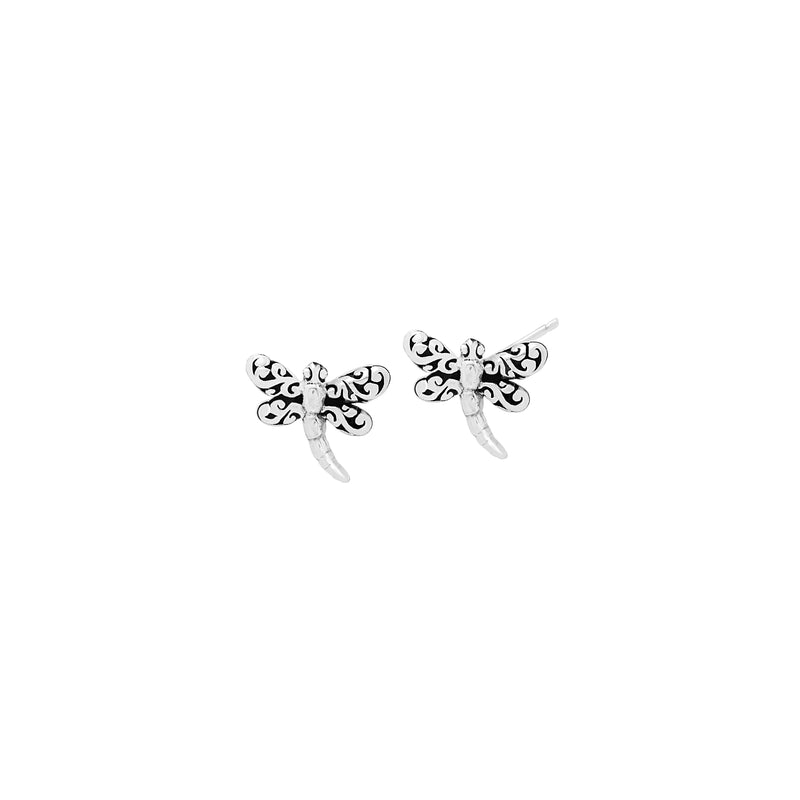 LH Signature Scroll Sterling Silver Delicate Dragonfly Post Earrings - Lois Hill Jewelry