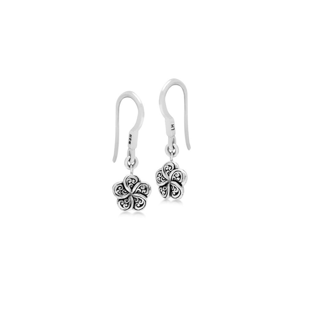 LH Signature Scroll Sterling Silver Delicate Flower Fishook Earrings - Lois Hill Jewelry
