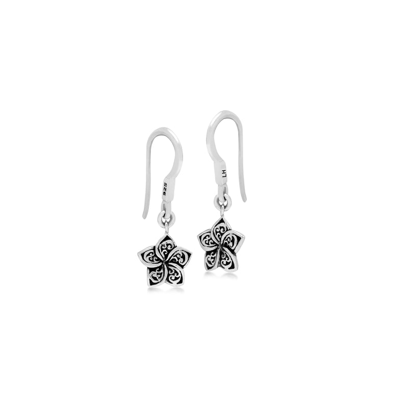 LH Signature Scroll Sterling Silver Delicate Floral Fishook Earrings - Lois Hill Jewelry