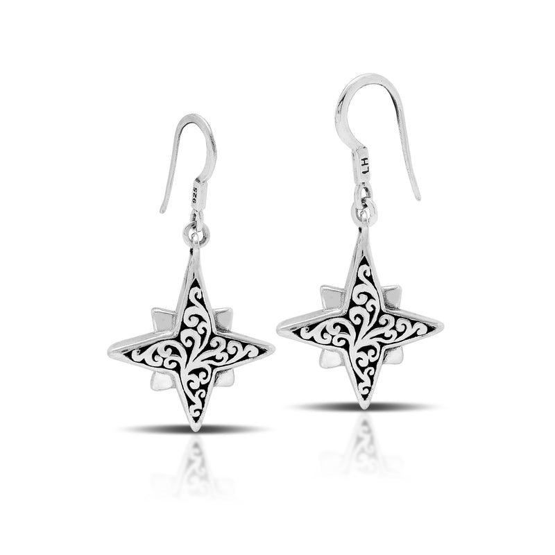 Classic Carved Scroll Star-Bright Fish Hook Earrings. 16mm Charm