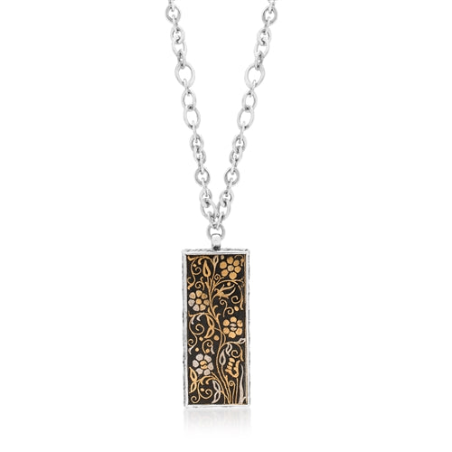 Kuftgari Floral Long Rectangular Drop Necklace