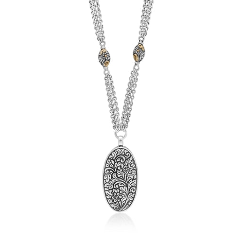 Kuftgari Floral Oval Multi-Link Necklace