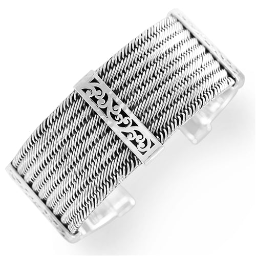 Medium Classic Single Wire Weave and Signature Scroll Station Cuff