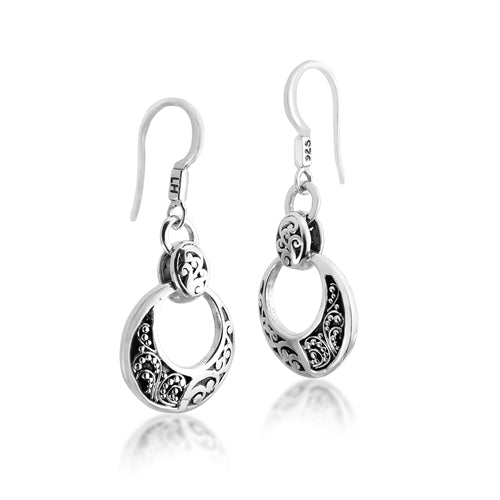 Classic Signature Scroll and Granulation Round Drop Earrings