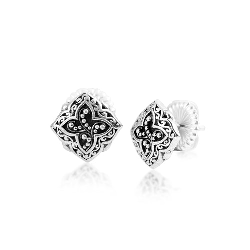 Classic Signature Scroll and Granulation Diamond-Shaped Stud Earrings