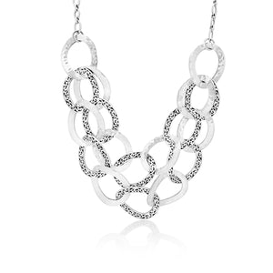 Classic Cutout and Hammered Interlinking Necklace