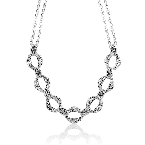 Cutout & Granulated Link Necklace