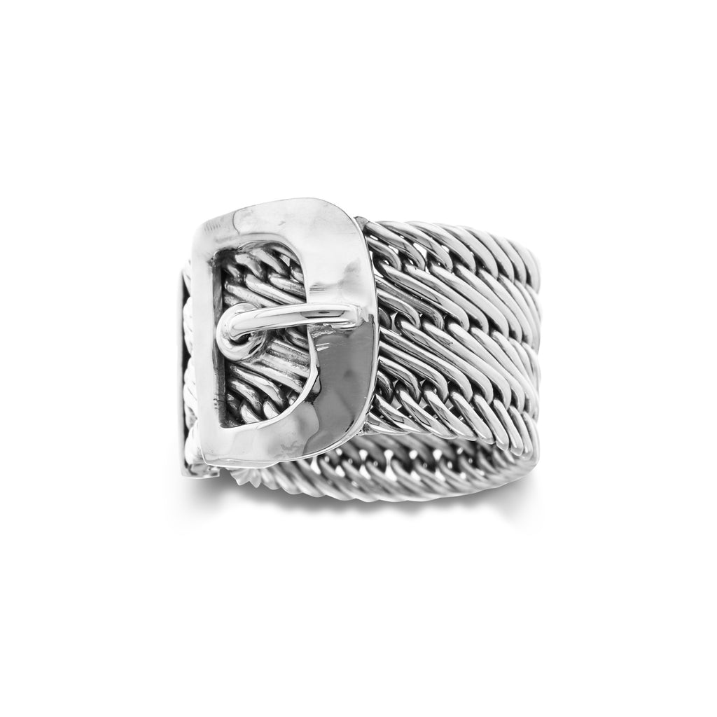 Single Wire Weave with Belt Buckle Center Ring - Lois Hill Jewelry