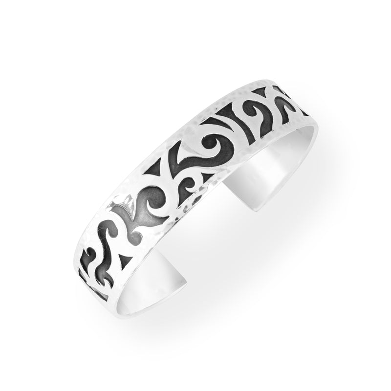 LH Mens Tribal Sterling Silver Carved Cuff