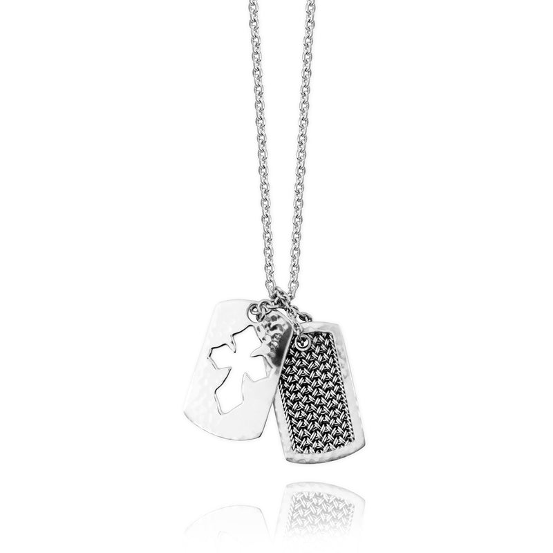 Classic Textile Weave Dogtag with Open Cross Tribal Scroll Pendant Necklace