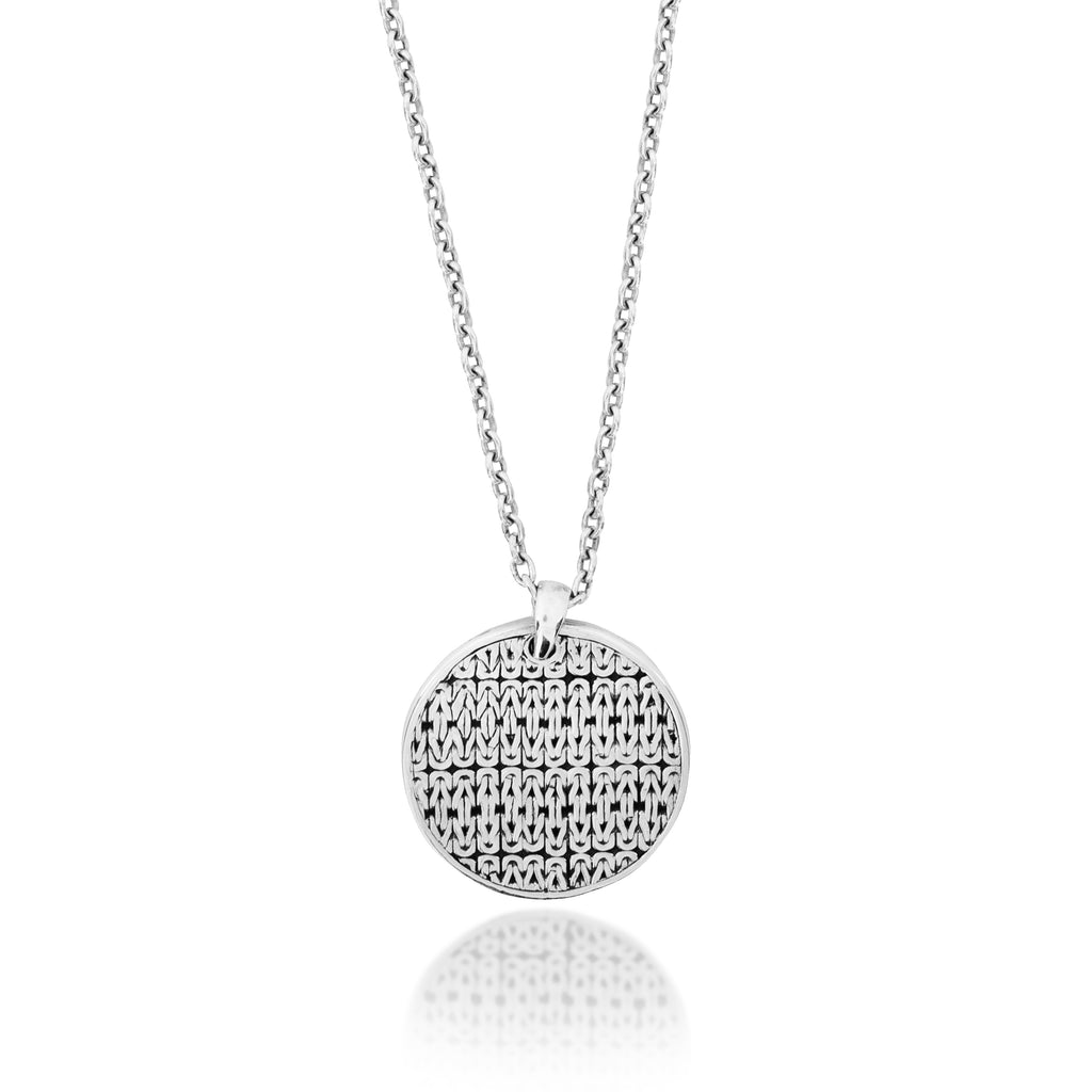 Classic Round Box Weave Pendant Necklace. 26mm Pendant