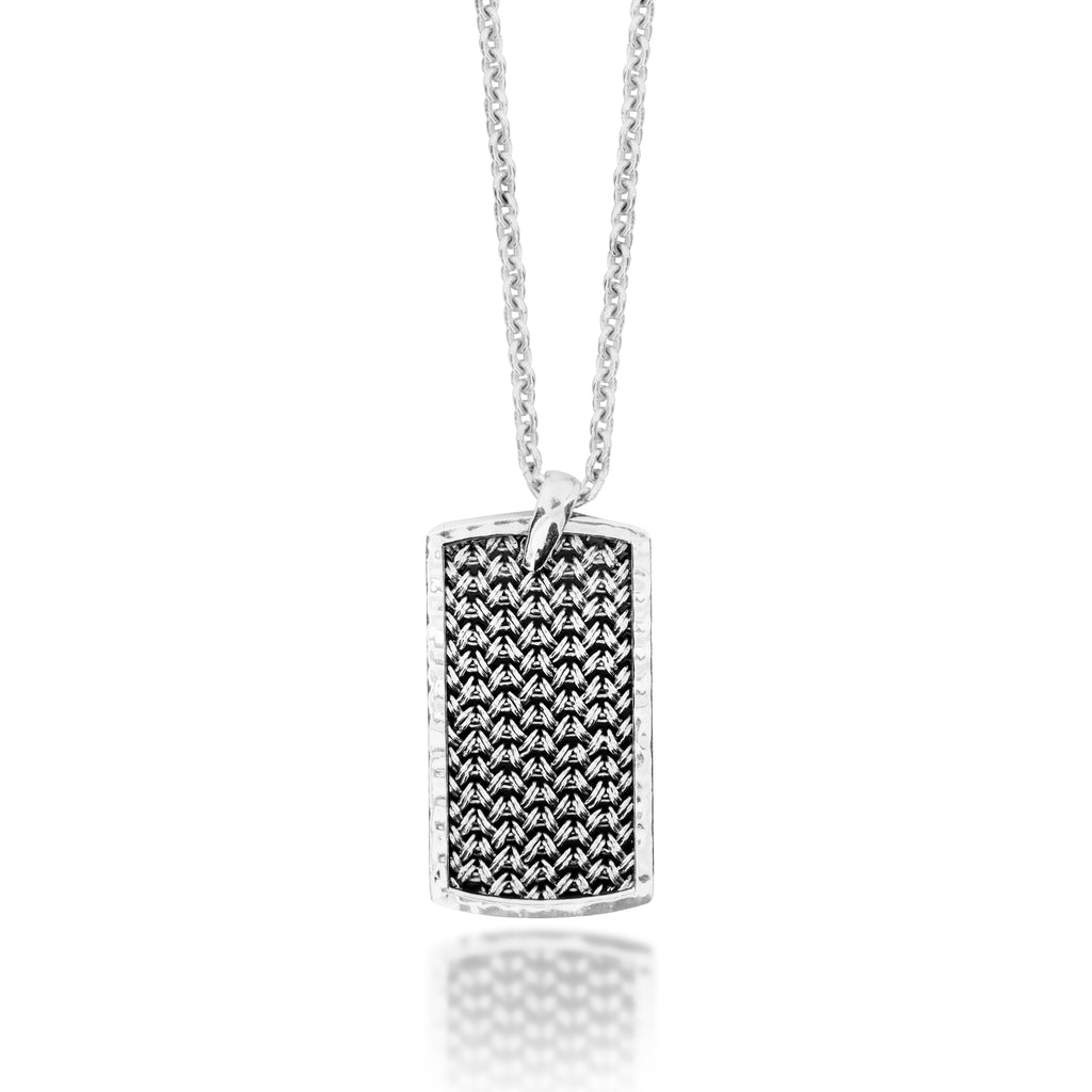 Large Classic Dogtag Textile Weave Pendant Necklace. 39mm x 21mm Pendant