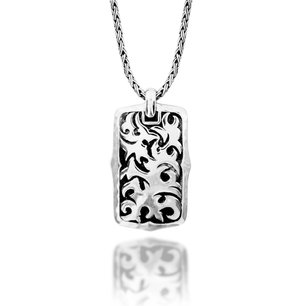Classic LH Tribal Scroll Dogtag Necklace. 36mm x 23mm Pendant