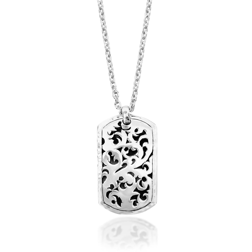 Classic LH Tribal Scroll Dogtag Necklace. 42mm x 24mm Pendant