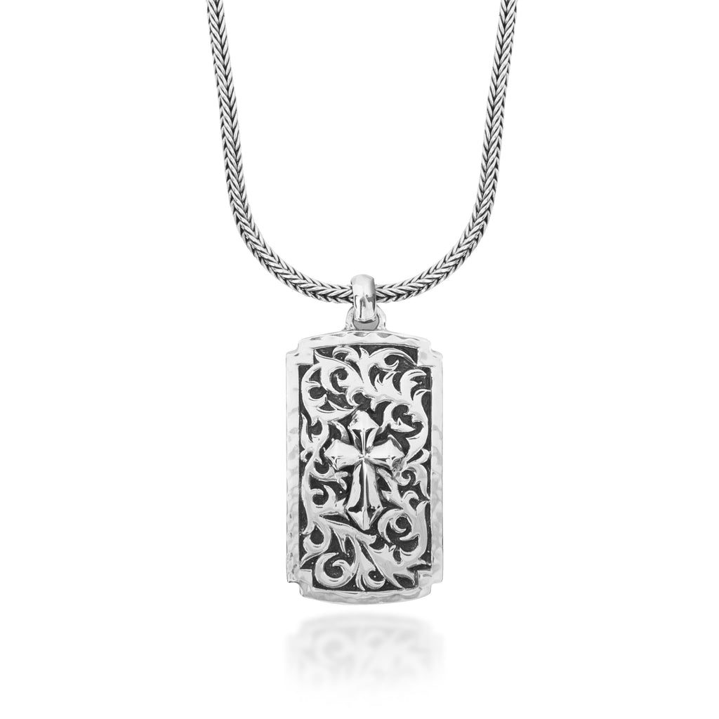 Classic LH Tribal Scroll Dogtag with Cross Light Middle Pendant Necklace. 36mm x 21mm Pendant
