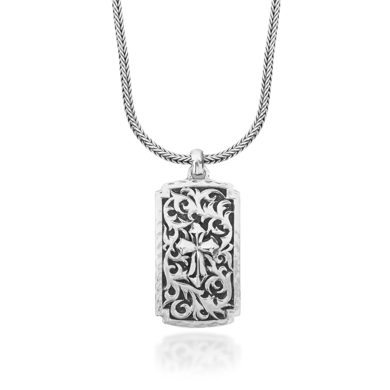 Classic LH Tribal Scroll Dogtag with Cross Light Middle Pendant Necklace