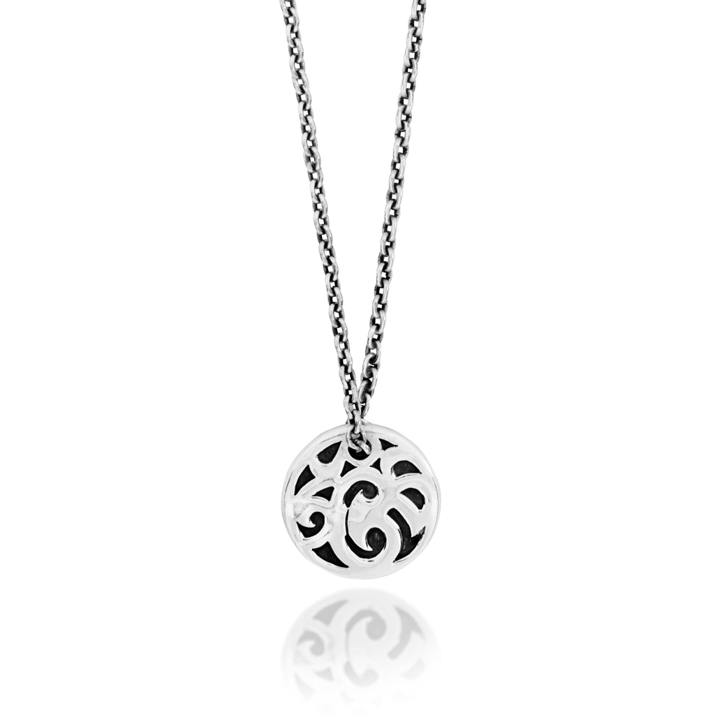 Classic Round LH Tribal Scroll Pendant Necklace. 18mm Pendant