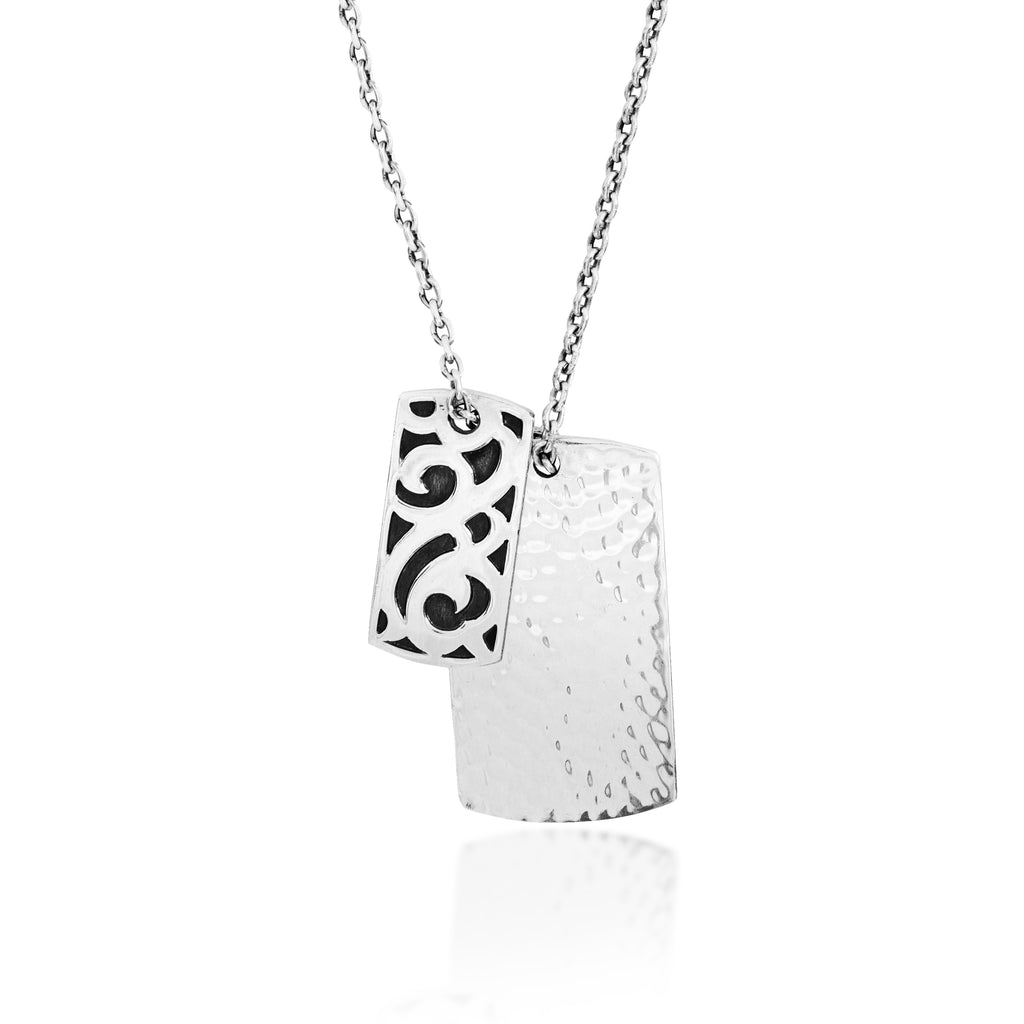 Small Classic LH Tribal Scroll and Large Hammered Dogtag Pendant Necklace. 38mm x 21mm Pendant
