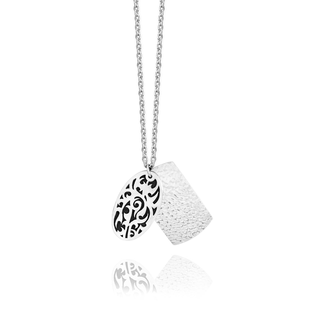 Classic Oval LH Tribal Scroll with Hammered Dogtag Pendant Necklace. 36mm x 22mm Pendant