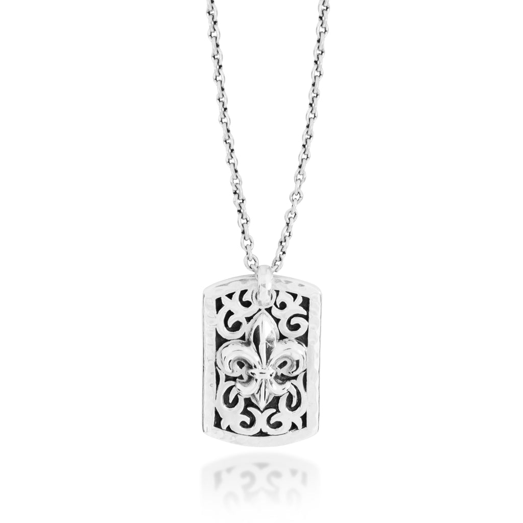 Small Classic LH Tribal Scroll Dogtag with Fleur-De-Lis Middle Pendant Necklace. 29mm x 19mm Pendant