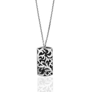 Classic Hammered Dogtag Pendant with LH Men's Tribal Cross Charm Necklace